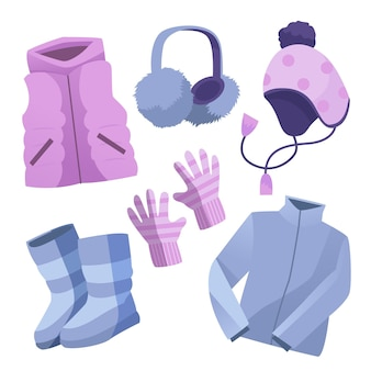 Set of drawn winter clothes
