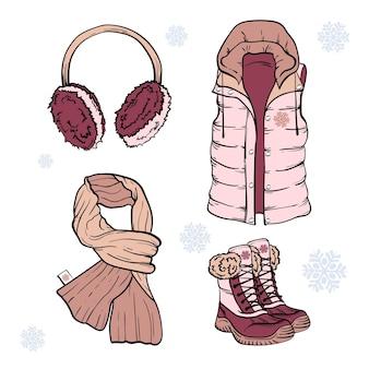 Set di vestiti invernali disegnati