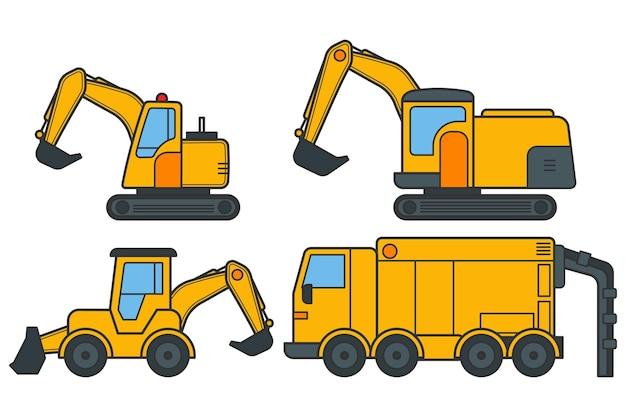Set of drawn yellow excavators