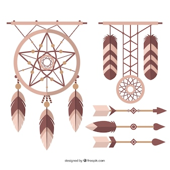 Set of dream catchers and arrows in flat design
