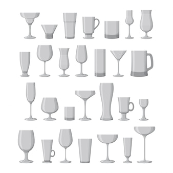 Set of drink glasses for wine, martini, champagne, beer and other.  illustration.