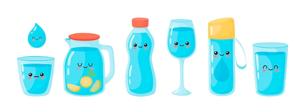 Set to drink more water vector set of various bottles glasses flasks in hand drawn style correct