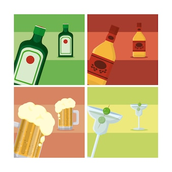 Set of drinks collection vector illustration graphic design