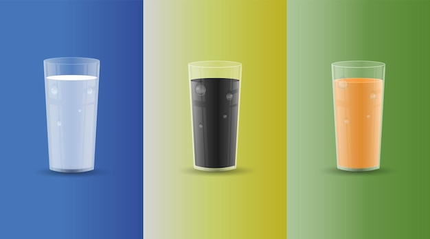 Set of drinks in transparent glases with drops and shadows. juice, milk, cola. vector illustration.