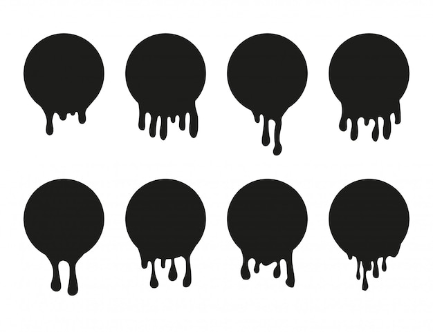 Set of dripping paint icon for design.