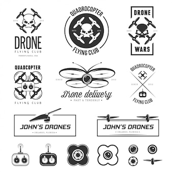 Set of drone flying club labels, badges, elements.