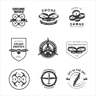 Set of drone flying club labels