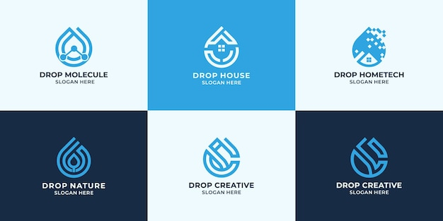 Set of drop logo design, combination logo