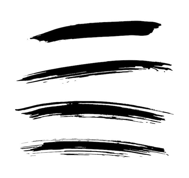 Set dry ink brush stroke banner
