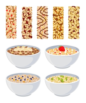 Set of dry muesli and in a bowl with different fruits.
