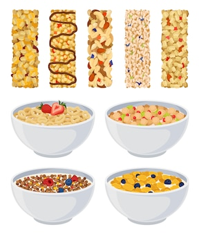 Set of dry muesli and cereal with fruit.