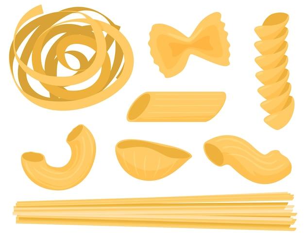 Set of dry pasta, farfale, fusilli, conchiglio, rigatoni, spaghetti.