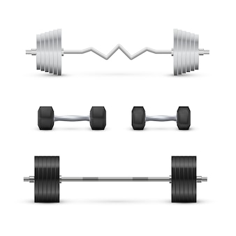 Set of dumbbells and barbells. fitness and bodybuilding equipment. vector