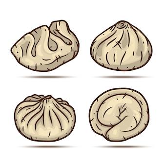 Set of dumplings. dim sum set.