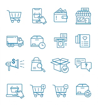 Set of e-commerce, online shop and shopping icons with outline style