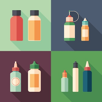 Set of e-liquid bottles flat square icons with long shadows.
