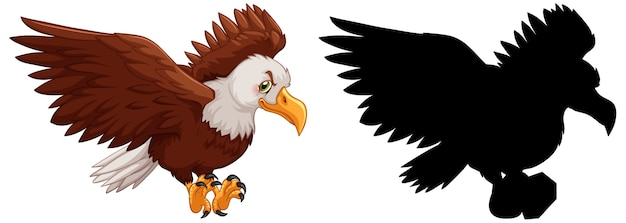Set of eagle characters and its silhouette on white