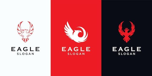 Установить шаблон логотипа орла Premium векторы