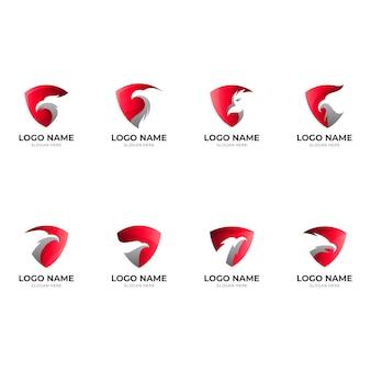 Установить логотип орла с комбинацией дизайна щита, шаблон сокола, современный
