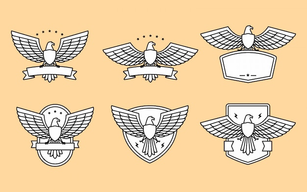 Set of eagle and wing logo template