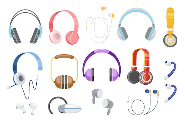 Set of earphones, headphones, wired and wireless audio equipment for music listening. earbuds for smartphone devices