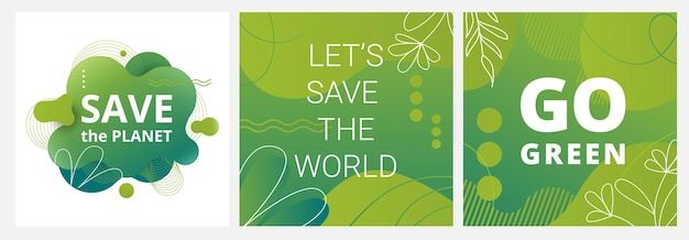 Set of earth day posters with green backgrounds liquid shapes leaves and elements