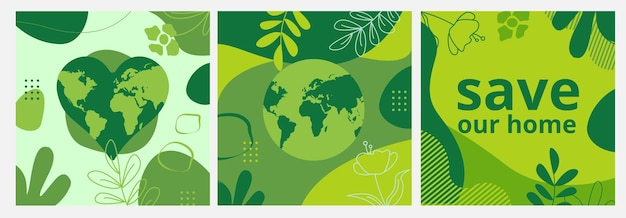 Set of earth day posters with green backgrounds liquid shapes