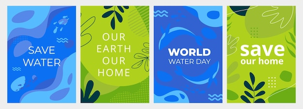 Set of earth day posters with green and blue backgrounds liquid shapes leaves and ocean elements