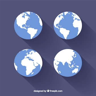 Set of earth in flat design
