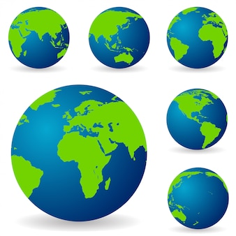 Set of earth globe in different variations