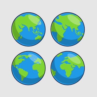 Set of earth icons illustration