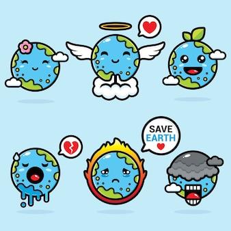 Set of earth mascot vector designs