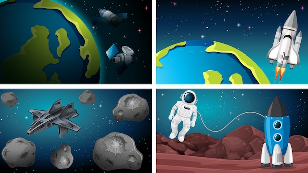 Set of earth and rocke space scenes