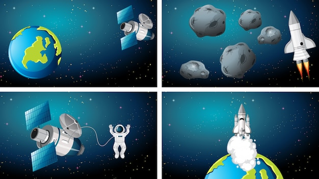 Set of earth and rocket scenes background