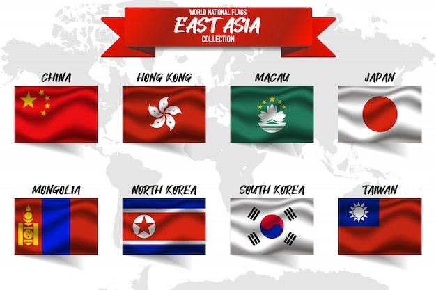 Set of east asian country national flag on world map background.