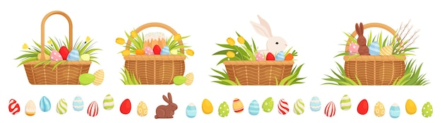 Set of easter baskets for the holiday. baskets with colored eggs, tulips, easter cake and rabbit.