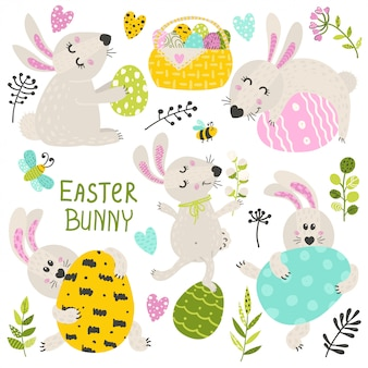 Set of easter bunny