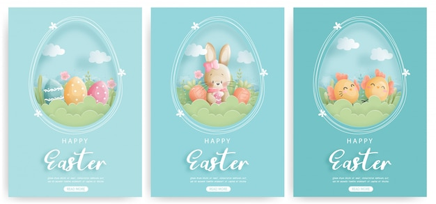 Set of easter card with cute bunnies and easter eggs.