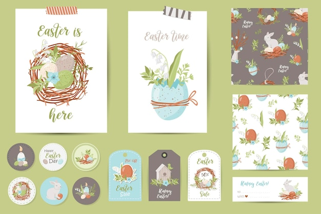 Set of easter cards, notes, stickers, labels, stamps, tags. printable cards templates