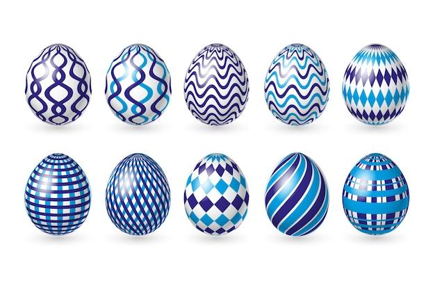 白い背景にイースター色の卵を設定します