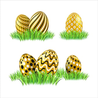 Set easter color eggs on white background