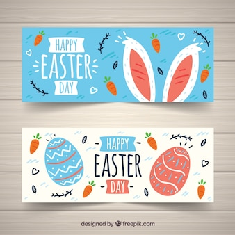 Set of easter day banners