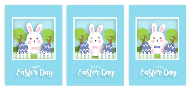 Set of easter day card with rabbit and easter egg.