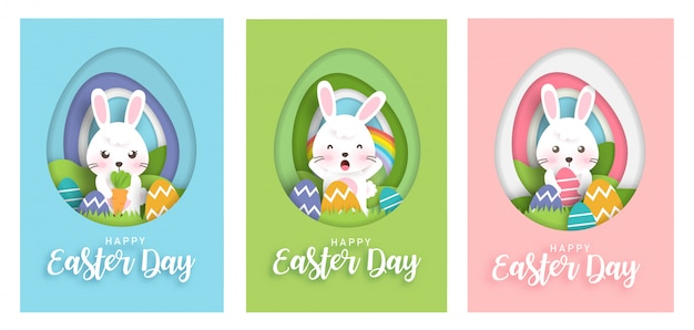 Set of easter day cards with cute rabbits bunny in paper cut and craft style . happy easter day .