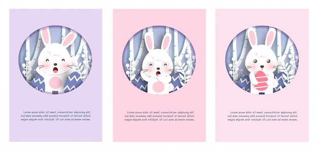 Set of easter day cards with cute rabbits bunny in paper cut and craft style . happy easter day