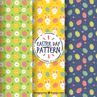 Set of easter day patterns Free Vector