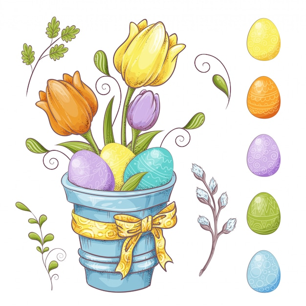 Set of easter design elements.