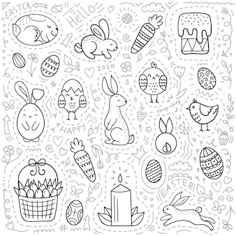 Set of easter doodle elements.