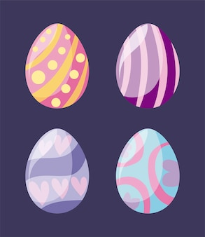 Set of easter eggs decoration