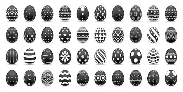 Set of easter eggs. happy easter concept, realistic easter eggs, illustration.